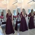 Burgundy Long-Sleeve Beaded Bodice V-Neck A-Line Dress With Sheer Back