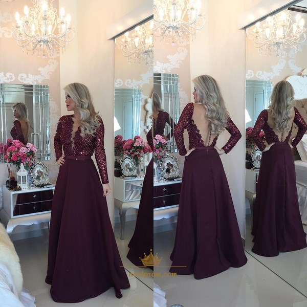 Burgundy Long-Sleeve Beaded Bodice V-Neck A-Line Dress With Sheer Back