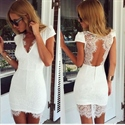 Short White Cap Sleeve Lace Sheath Homecoming Dress With Keyhole Back