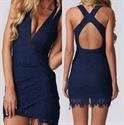 Simple Sleeveless V-Neck Short Lace Sheath Dress With Criss Cross Back