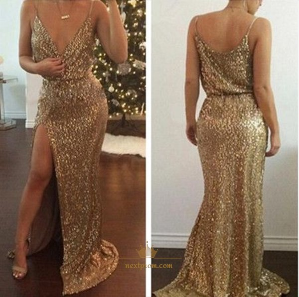 Spaghetti Strap V-Neck Floor Length Sequin Mermaid Prom Gown With Slit