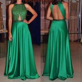 Emerald Green Sleeveless Beaded Bodice A-Line Prom Gown With Open Back