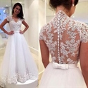 White Elegant Cap Sleeve Lace Embellished A-Line Tulle Wedding Dress