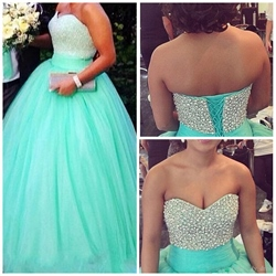 Strapless Mint Green Beaded Bodice Floor Length A-Line Tulle Ball Gown