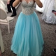 Light Blue Strapless Floor Length Sequin Bodice A-Line Tulle Ball Gown