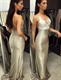Spaghetti Strap Backless Lace Embellished Sequin Mermaid Evening Gown
