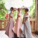Elegant Off The Shoulder A-Line Floor Length Satin Bridesmaid Dress