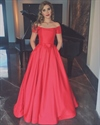 Simple Elegant Red Off The Shoulder Floor Length A-Line Evening Dress