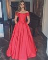 Simple Elegant Red Off The Shoulder Floor Length A-Line Evening Dress