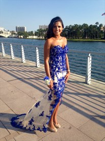 Royal Blue Strapless Lace Applique Embellished Long Dress With Split