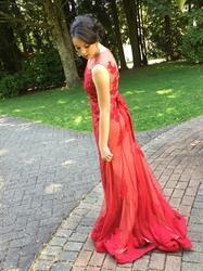 Elegant Red Sleeveless Lace Applique Beaded Embellished Mermaid Dress