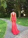 Elegant Red Sleeveless Lace Applique Beaded Embellished Mermaid Dress