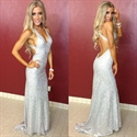 Sleeveless V-Neck Backless Sequin Floor-Length Mermaid Evening Dress