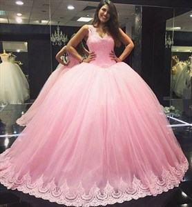 Baby Pink Floor Length Sleeveless Lace Bodice Quinceanera Ball Gown