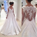 Illusion Long Sleeve Lace Applique Embellished A-Line Wedding Dress