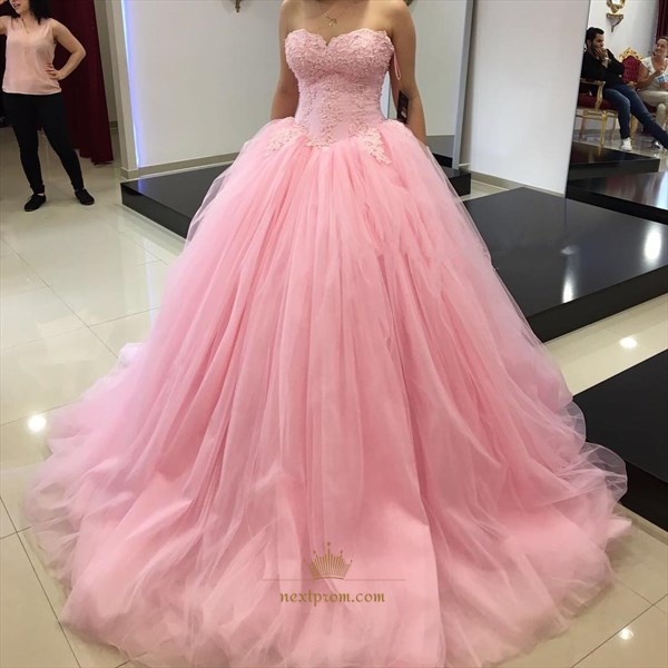 Baby Pink Strapless Lace Bodice Floor Length A-Line Tulle Ball Gown