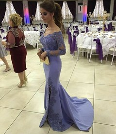 Off-The-Shoulder Long Sleeve Lace Embellished Mermaid Dress With Slit