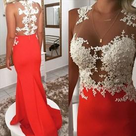 Sleeveless Illusion Applique Bodice Floor Length Mermaid Prom Dress