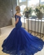 Royal Blue Off-The-Shoulder Lace Bodice Drop Waist Mermaid Prom Dress