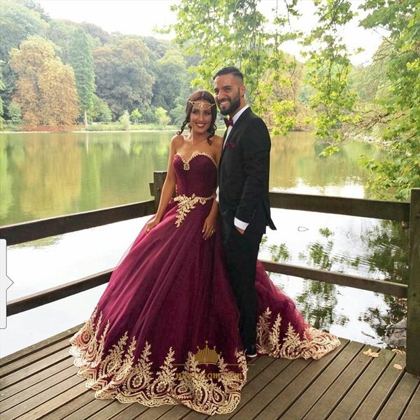Elegant Burgundy Strapless Lace Embellished Tulle A-Line Prom Dress
