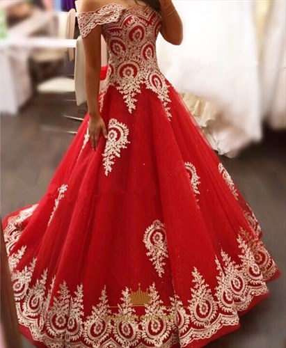 Off The Shoulder Red Lace Applique A-Line Floor Length Ball Gown Dress
