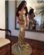 Spaghetti Strap Deep V Neck Sequin Mermaid Prom Dress With Open Back