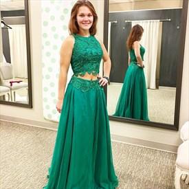 Emerald Green Two Piece Sleeveless Chiffon Prom Dress With Lace Bodice