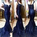 Navy Blue Cap Sleeve Embellished Sequin Floor Length Mermaid Prom Gown