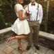 Knee Length Beaded Bodice Short-Sleeve A-Line Two Piece Wedding Dress