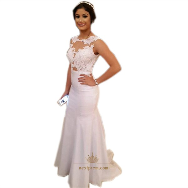 White Sleeveless Illusion Lace Bodice Floor Length Mermaid Prom Dress
