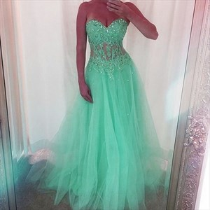 Mint Green Strapless Sweetheart Tulle A-Line Gown With Beaded Applique