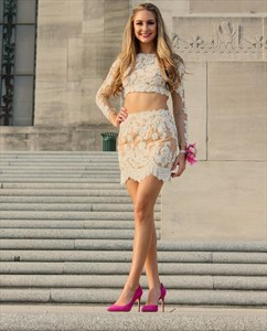 Two Piece Lace Short Sheath Homecoming Dress With Illusion Long Sleeve