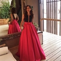 Two Tone Elegant Sleeveless Backless Floor Length A-Line Evening Dress