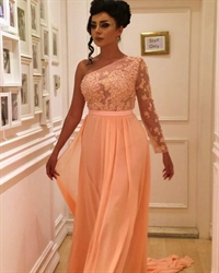 Illusion One Shoulder Lace Bodice A-Line Chiffon Dress With Sleeves