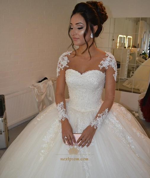 Illusion Long Sleeve Sweetheart A-Line Applique Tulle Wedding Dress