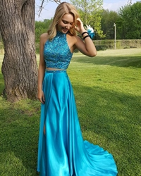 Elegant Floor Length A-Line Two Piece Prom Dress With Beaded Halter