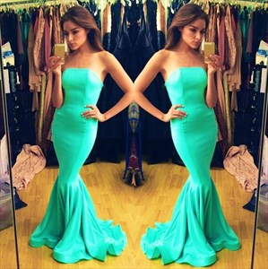 Simple Elegant Strapless Turquoise Floor Length Mermaid Evening Gown