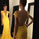 Yellow Floor Length Cap Sleeve Lace Mermaid Prom Dress With Sheer Back