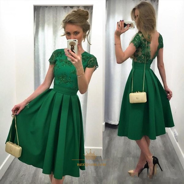 Tea Length Emerald Green Short Sleeve Backless A-Line Homecoming Dress