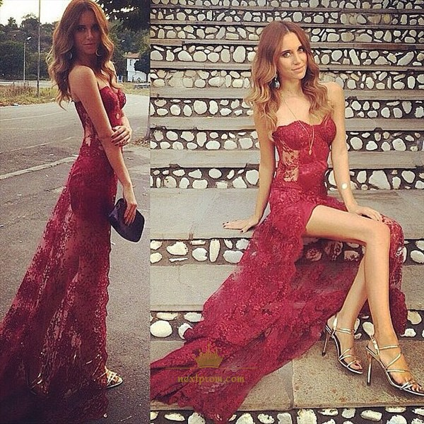 Burgundy Strapless Lace Overlay Floor Length Evening Dress With Slit