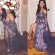 Off The Shoulder Long-Sleeve Tulle Overlay Embellished Dress With Slit