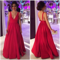 Elegant A-Line V-Neck Sleeveless Backless Floor Length Evening Dress