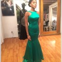 Elegant Emerald Green Sleeveless Backless Mermaid Long Evening Dress
