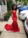 Simple Red Sleeveless V-Neck Floor Length Sheath Mermaid Evening Dress