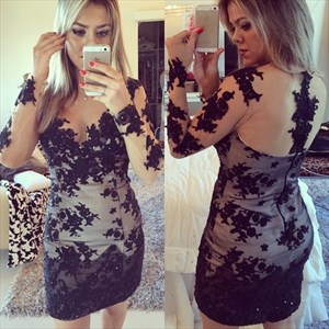 Long Sleeve Knee Length Lace Sheath Cocktail Dress With Sheer Neckline