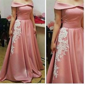 Off The Shoulder Elegant A Line Evening Dress With Lace Embellished