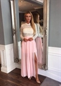 Long Sleeve Floor Length Pink Chiffon Prom Dress With White Lace Top