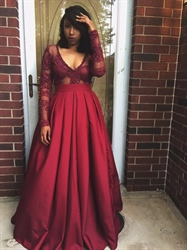 Burgundy Sheer Long Sleeve Embellished Bodice V-Neck A-Line Prom Dress