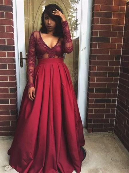 Burgundy Sheer Long Sleeve Embellished Bodice V-Neck A-Line Prom Dress