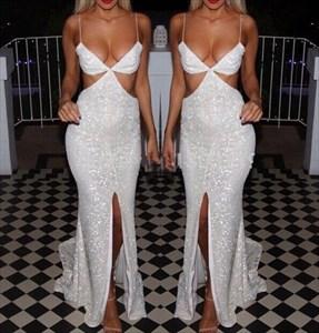 Spaghetti Strap Floor-Length Sequin Mermaid Evening Dress With Slit
